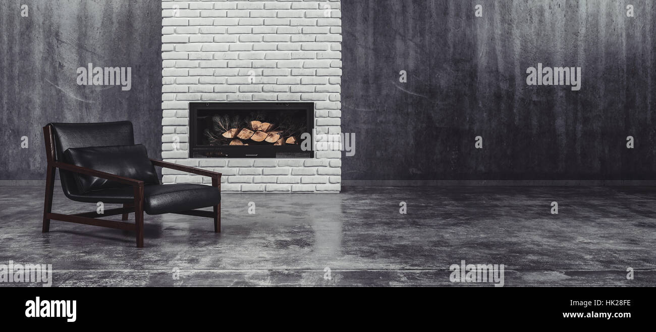 Modern Black Leather And Metal Chair In Front Of A Fire Insert In A