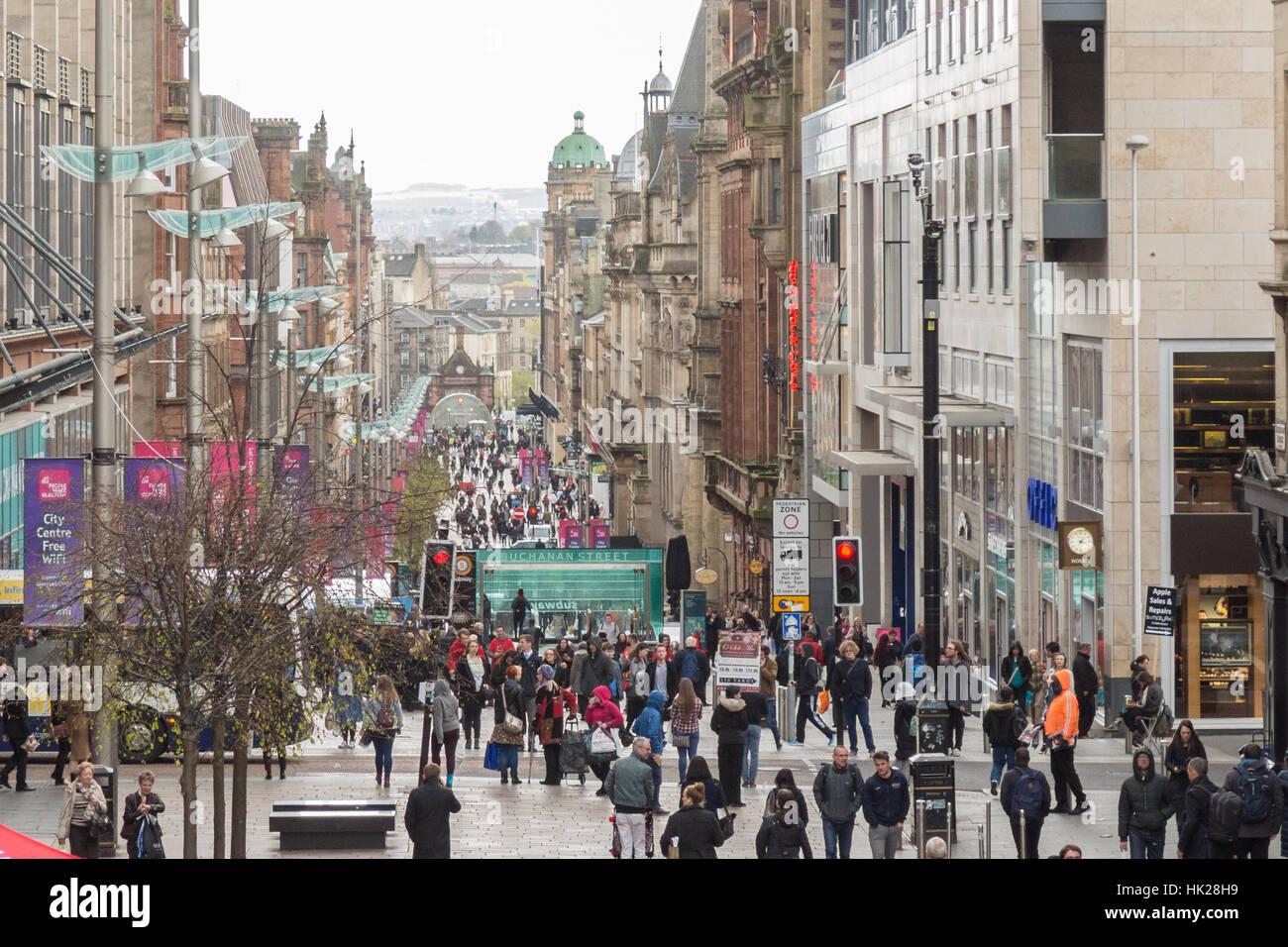 Buchanan Street, Glasgow, Scotland, UK - Stock Image