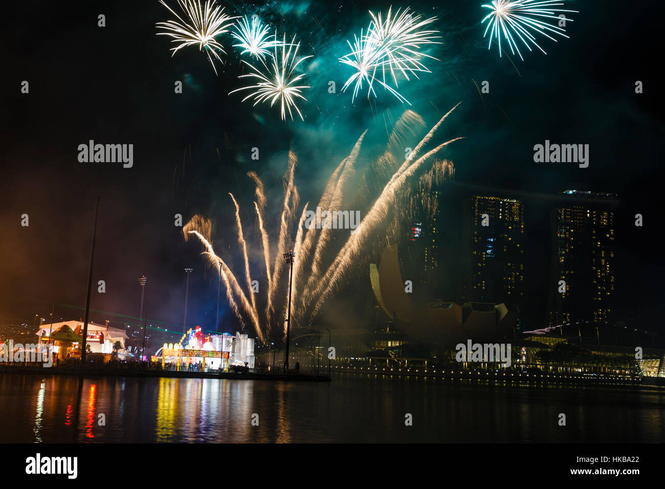 Singapore. 27th January 2017  The city of Singapore welcomed the Chinese New Year of the Rooster this evening with - Stock Image