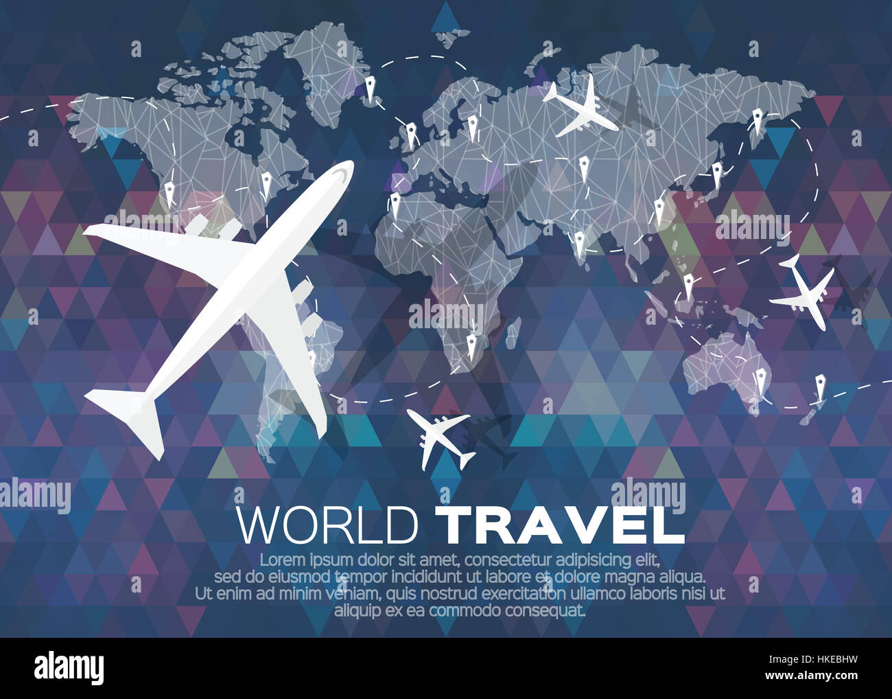 Travel world map background in polygonal style bacground with top travel world map background in polygonal style bacground with top view airplane vector illustration design gumiabroncs Images