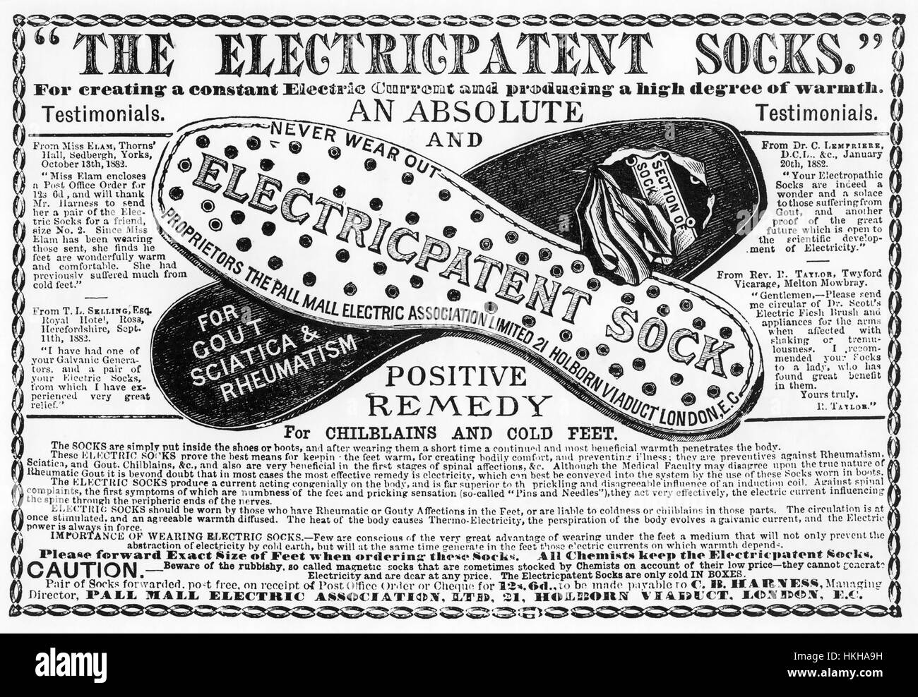 ELECTRICPATENT SOCKS  1884 advert for a a product of the Pall Mall Electric Association based not in the prestigeous - Stock Image