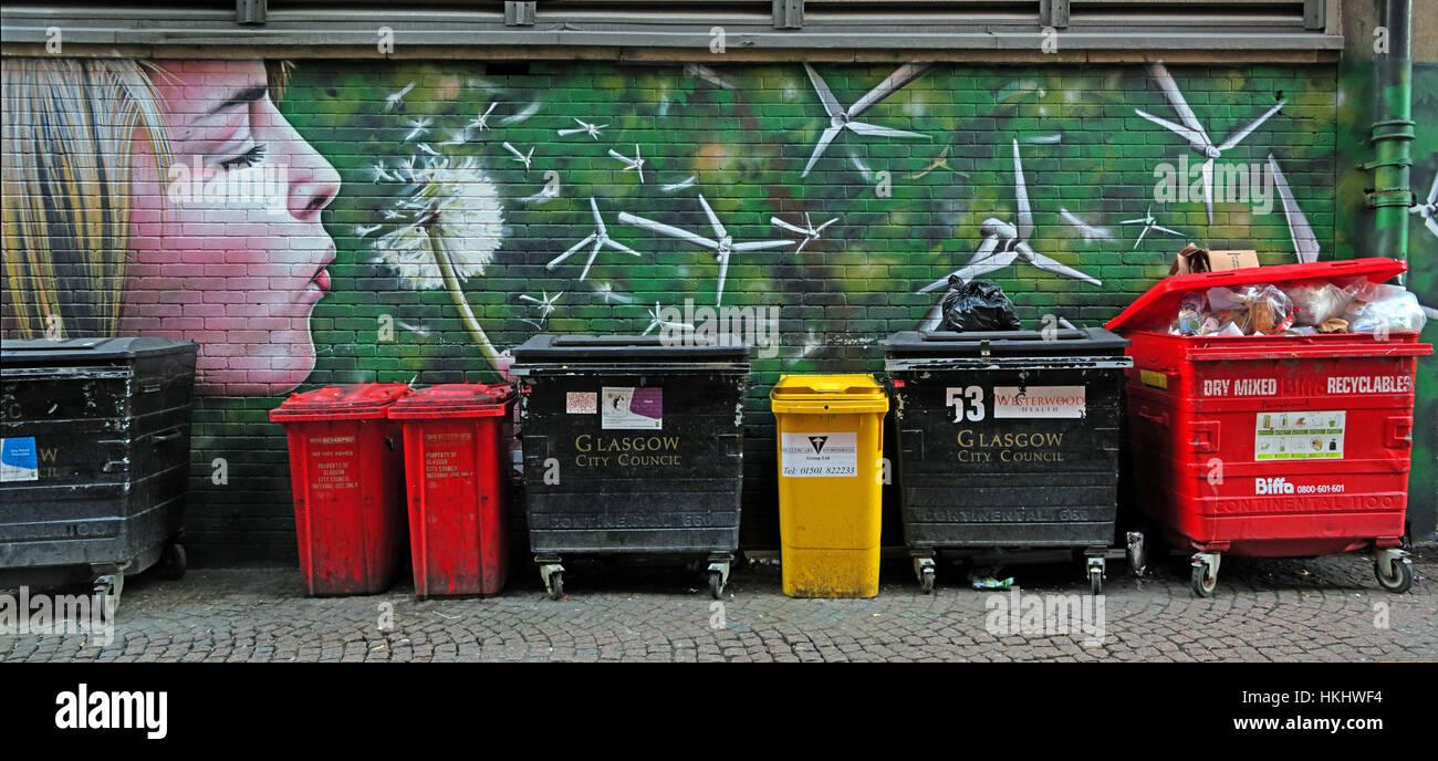 eco,bin,waste,Flower,dandelion,red,red bins,art,urban art,lips,face,blond,blond girl,recycling,recycle,Glasgow City Council,GoTonySmith,Scottish,collections,wheelie bins,wheeliebins,Pano,panorama