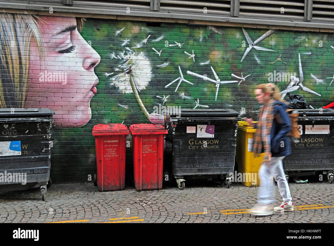 eco,bin,waste,Flower,dandelion,red,red bins,art,urban art,lips,face,blond,blond girl,recycling,recycle,Glasgow City Council,GoTonySmith,Scottish,collections,wheelie bins,wheeliebins