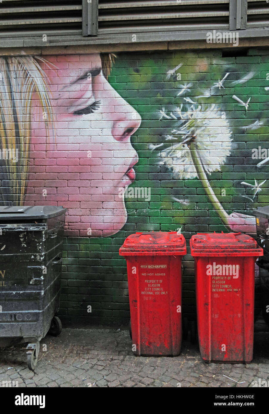 waste,Flower,dandelion,red,red bins,art,urban art,lips,face,blond,blond girl,recycling,recycle,Glasgow City Council,GoTonySmith,Scottish,collections,wheelie bins,wheeliebins,Pano,panorama,Glasgow,city,centre,gotonysmith,stairs,arts,artscentre,center