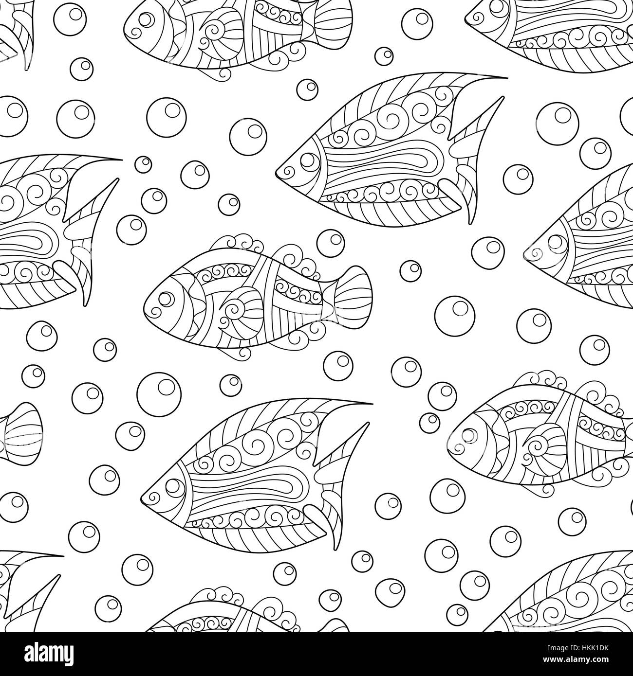 Coloring pages for adult. book. Antistress. Seamless abstract Stock ...