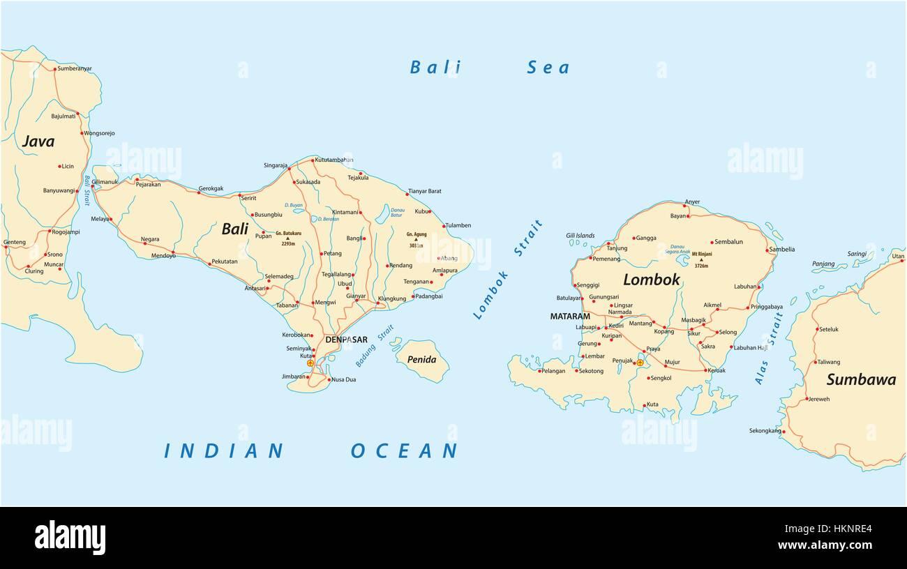 Vector road map of Indonesian Lesser Sunda Islands Bali and Lombok ...