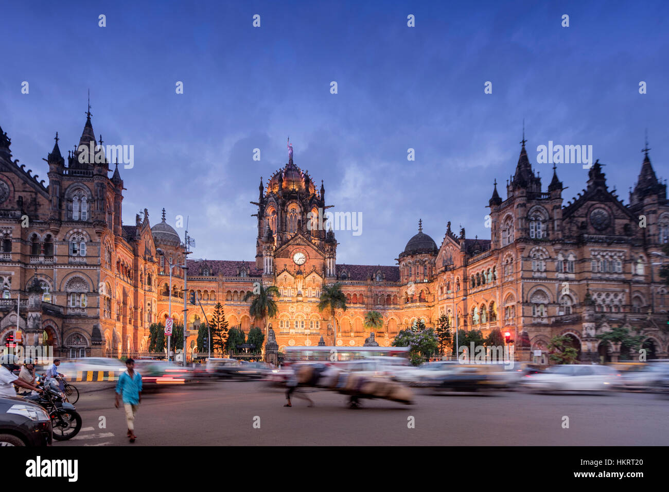 Chhatrapati Shivaji or Victoria Terminus train station & UNESCO World Heritage Site, built by the British - Stock Image