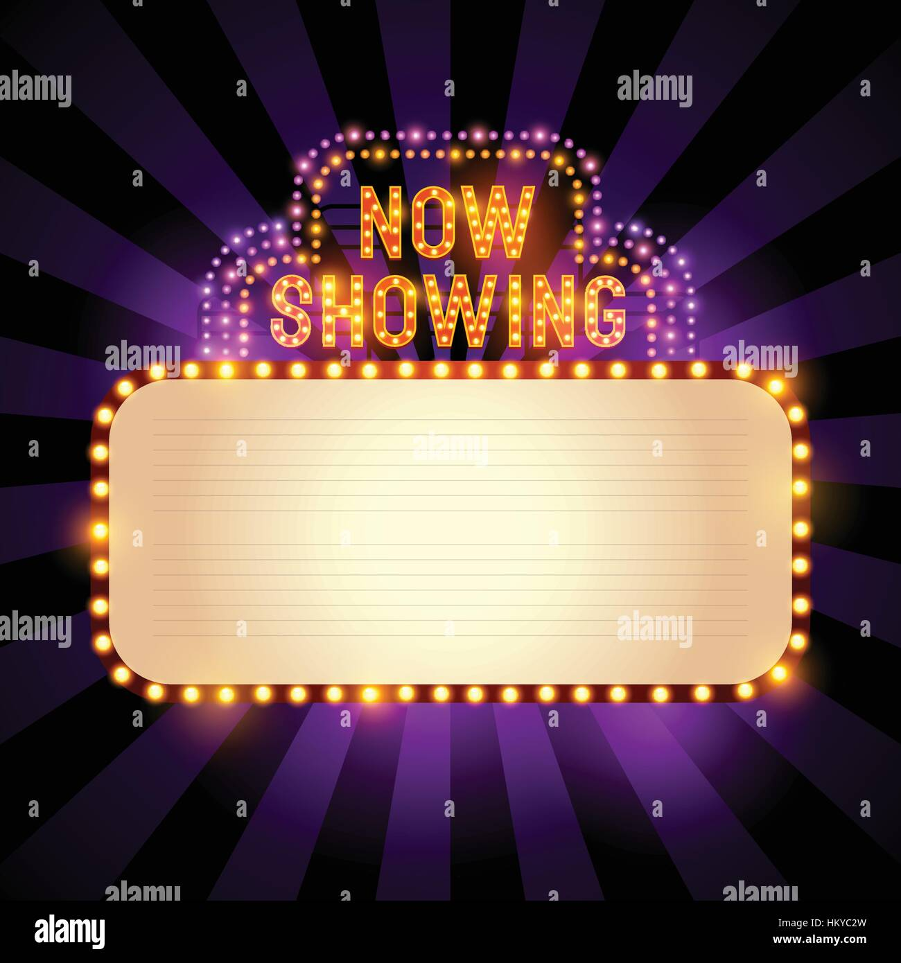 vintage theatre cinema sign with lights and room for text vector