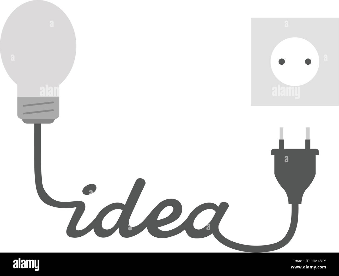Vector Grey Light Bulb With Idea Wire Electrical Plug And Outlet Wiring Cable