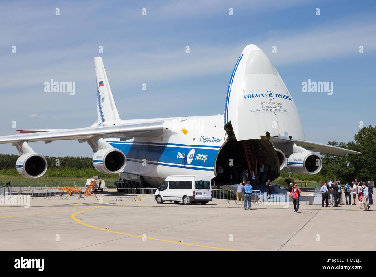 BERLIN, GERMANY - MAY 22, 2014: Russian made Antonov An-124 transport plane at the International Aerospace Exhibition - Stock Image