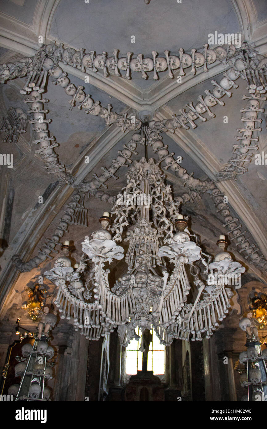 Chandelier Made Entirely Of Human Bones And Skulls In The Sedlec Ossuary Near Town Kutna Hora Czech Republic