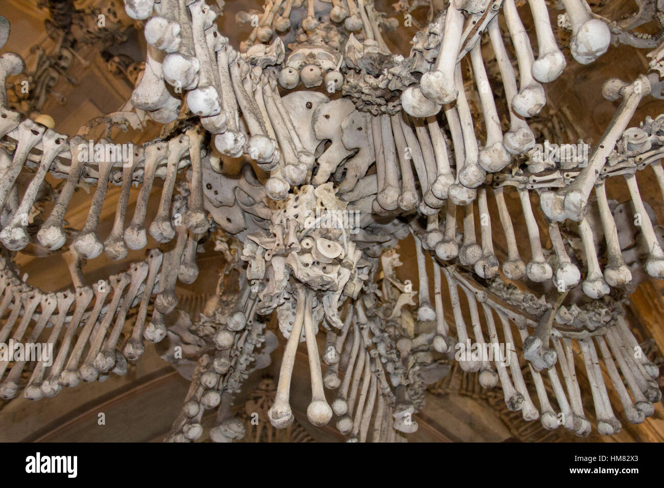 Detail Of A Chandelier Made Entirely Human Bones And Skulls In The Sedlec Ossuary Near Town Kutna Hora Czech Republic