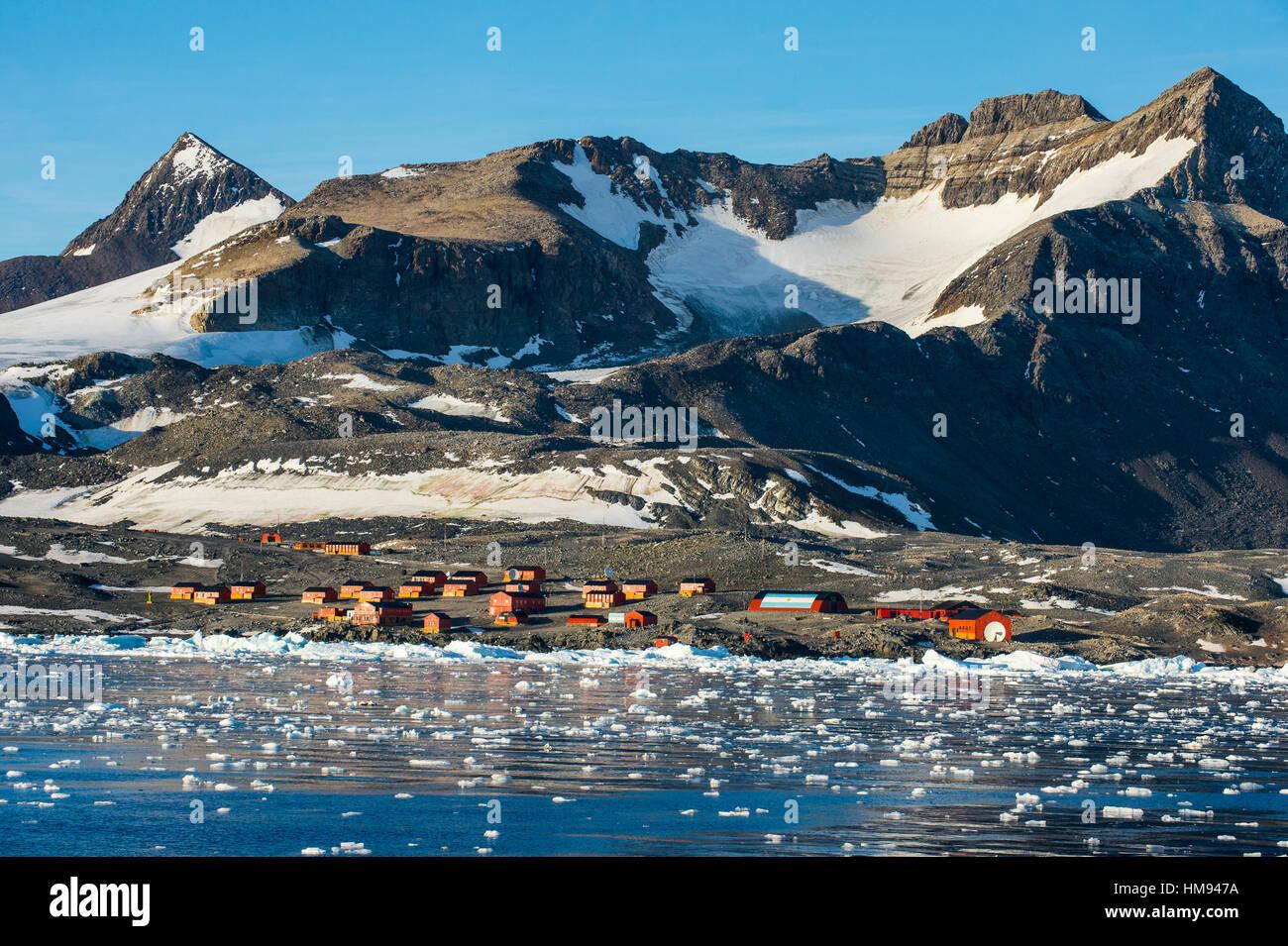 Argentinian Antarctic settlement, Esperanza Base, Hope Bay, Antarctica, Polar Regions Stock Photo