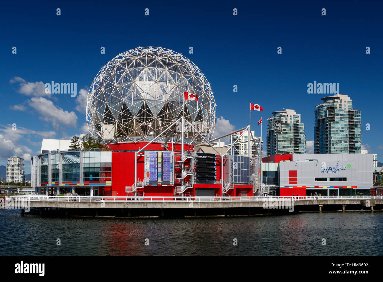 The Telus World of Science building on False Creek, Vancouver, British Columbia, Canada. The dome was added in 1985 - Stock Image