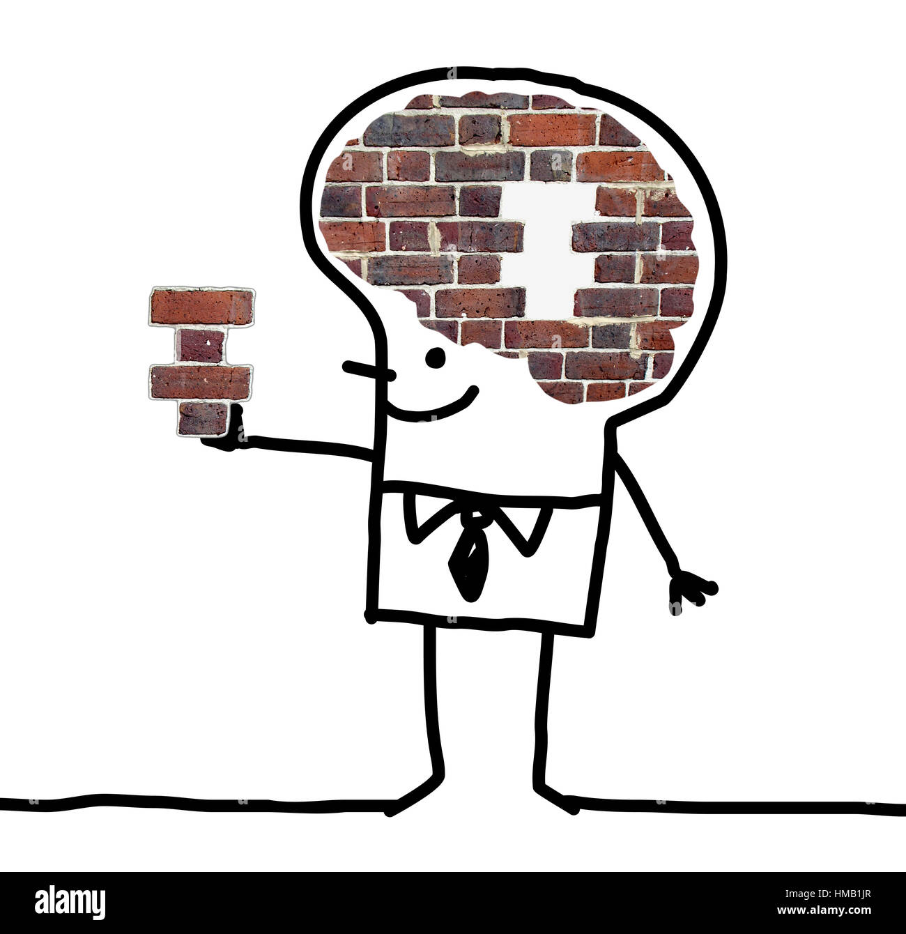 Cartoon big brain man wall and puzzle stock photo 133008479 alamy cartoon big brain man wall and puzzle thecheapjerseys Gallery