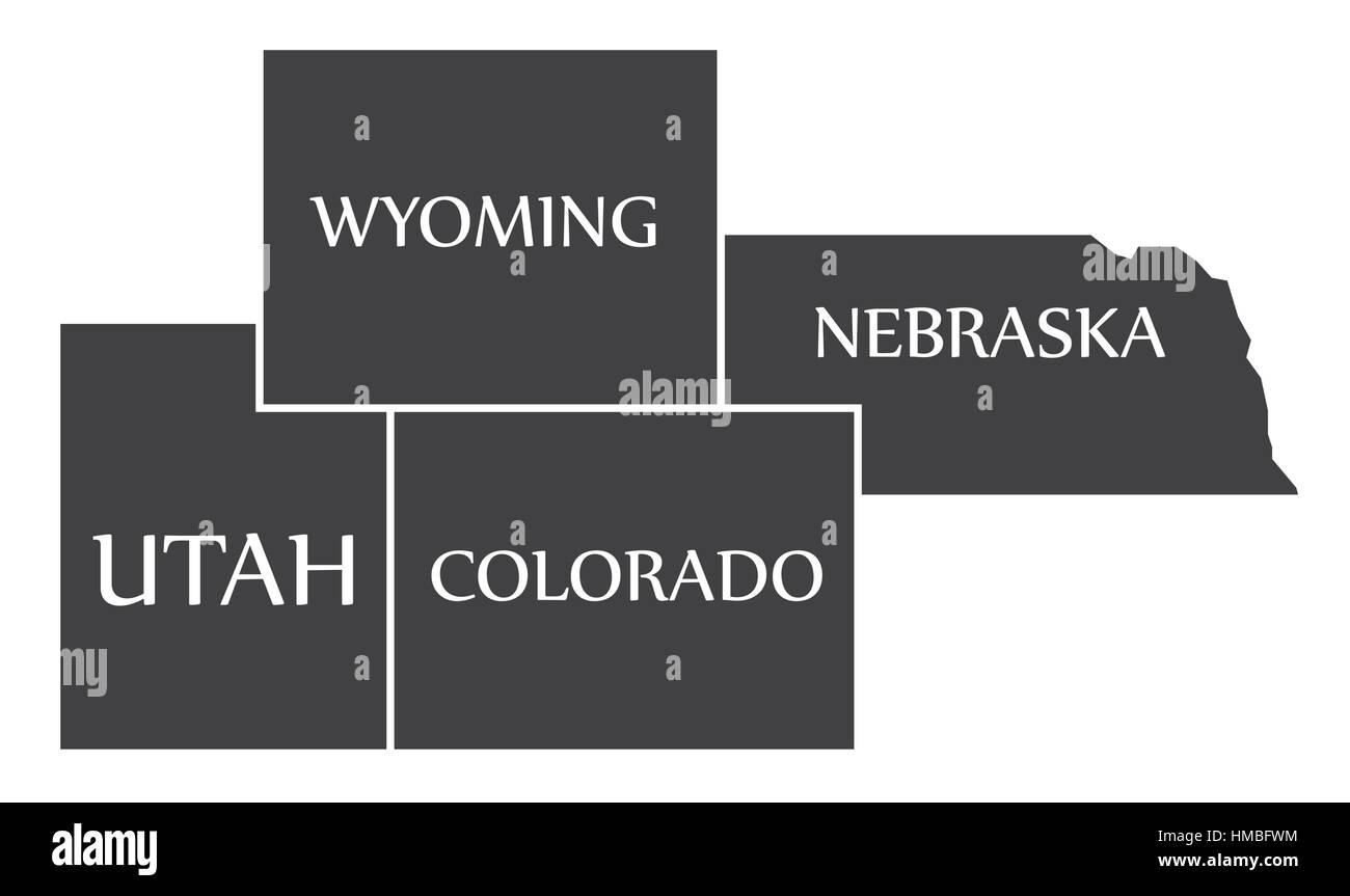 Utah - Wyoming - Colorado - Nebraska Map labelled black illustration ...