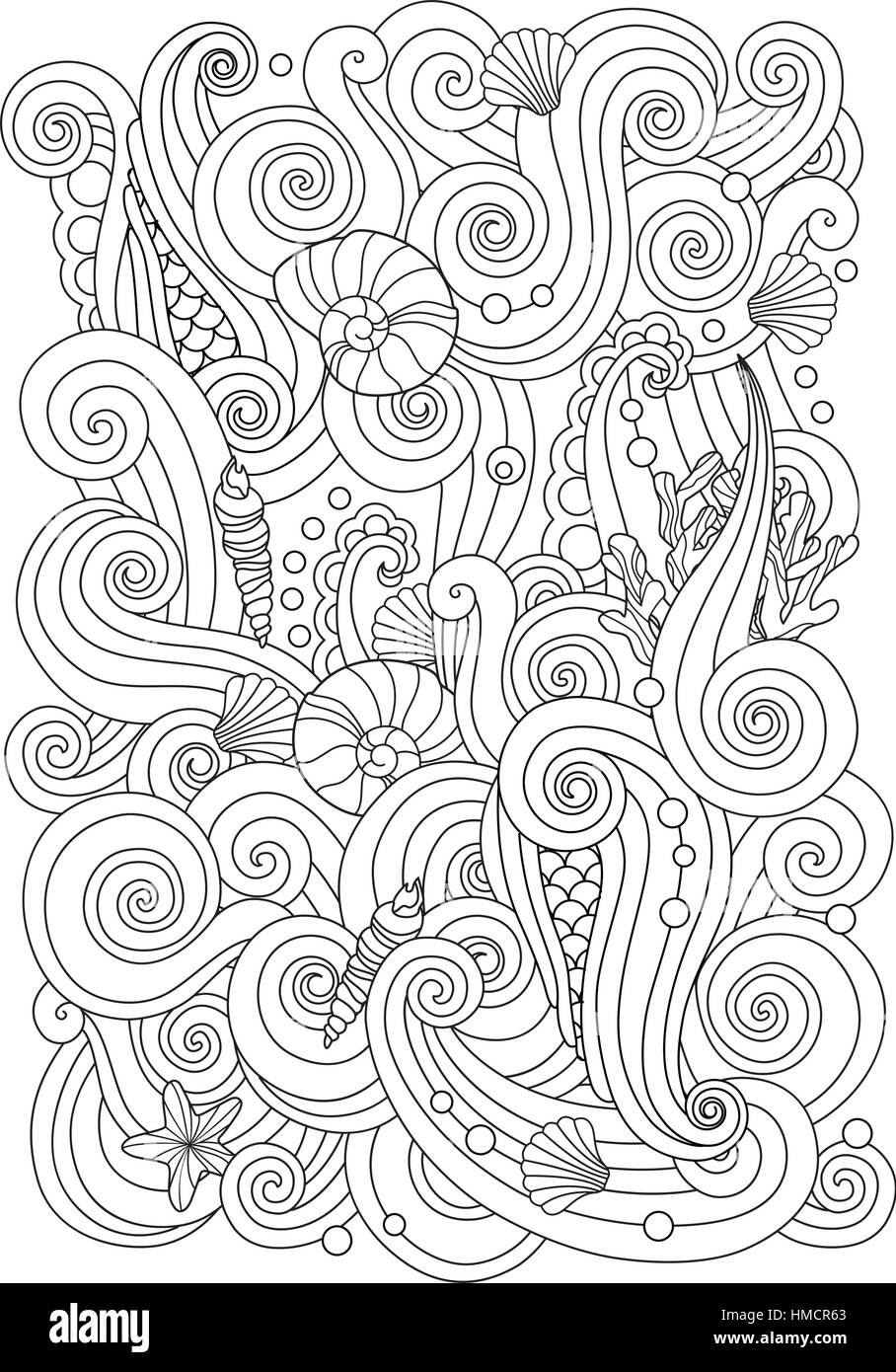 Composition Book Cover Background ~ Coloring page with abstract sea background waves shells corals