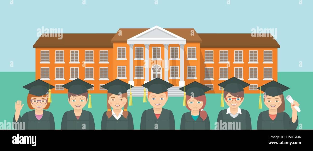 Vector flat horizontal illustration of group of kids in graduation ...