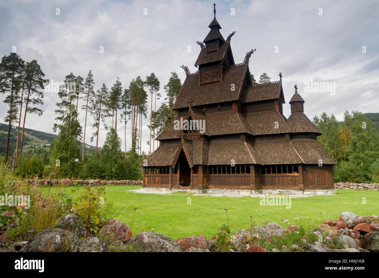 Gol Stave Church (from Gol, Hallingdal, Norway), now located in the Norwegian Museum of Cultural History at Bygdoy - Stock Image
