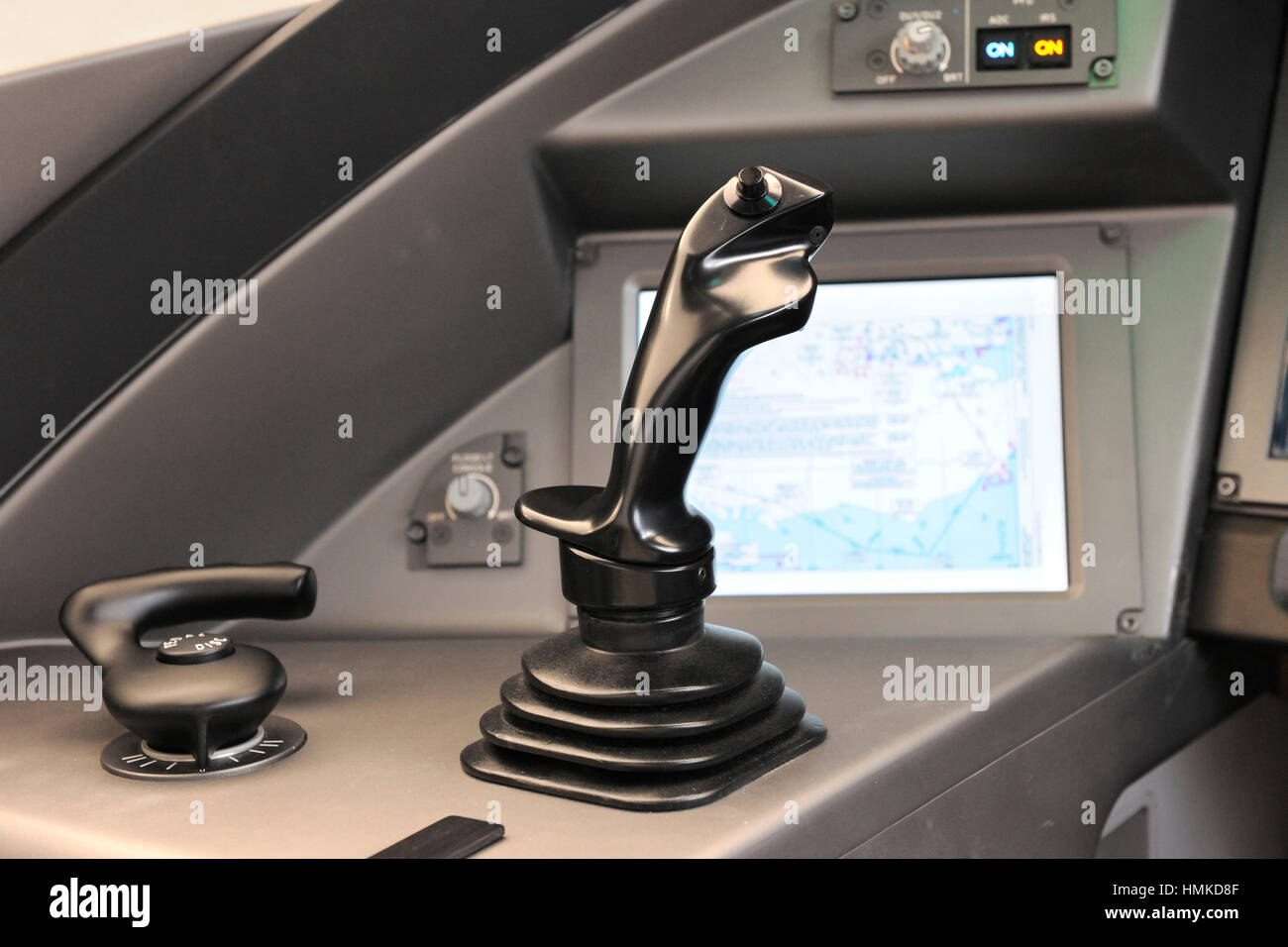 side-stick control in the MS-21 cockpit at the Farnborough Airshow 2010 - Stock Image