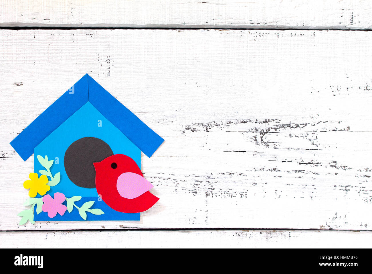 Spring Background Two Birds And A Birdhouse Craft For Kids Copy