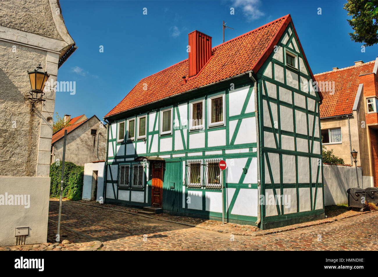 July 2016, frame house in Klaipeda (Lithuania) Stock Photo