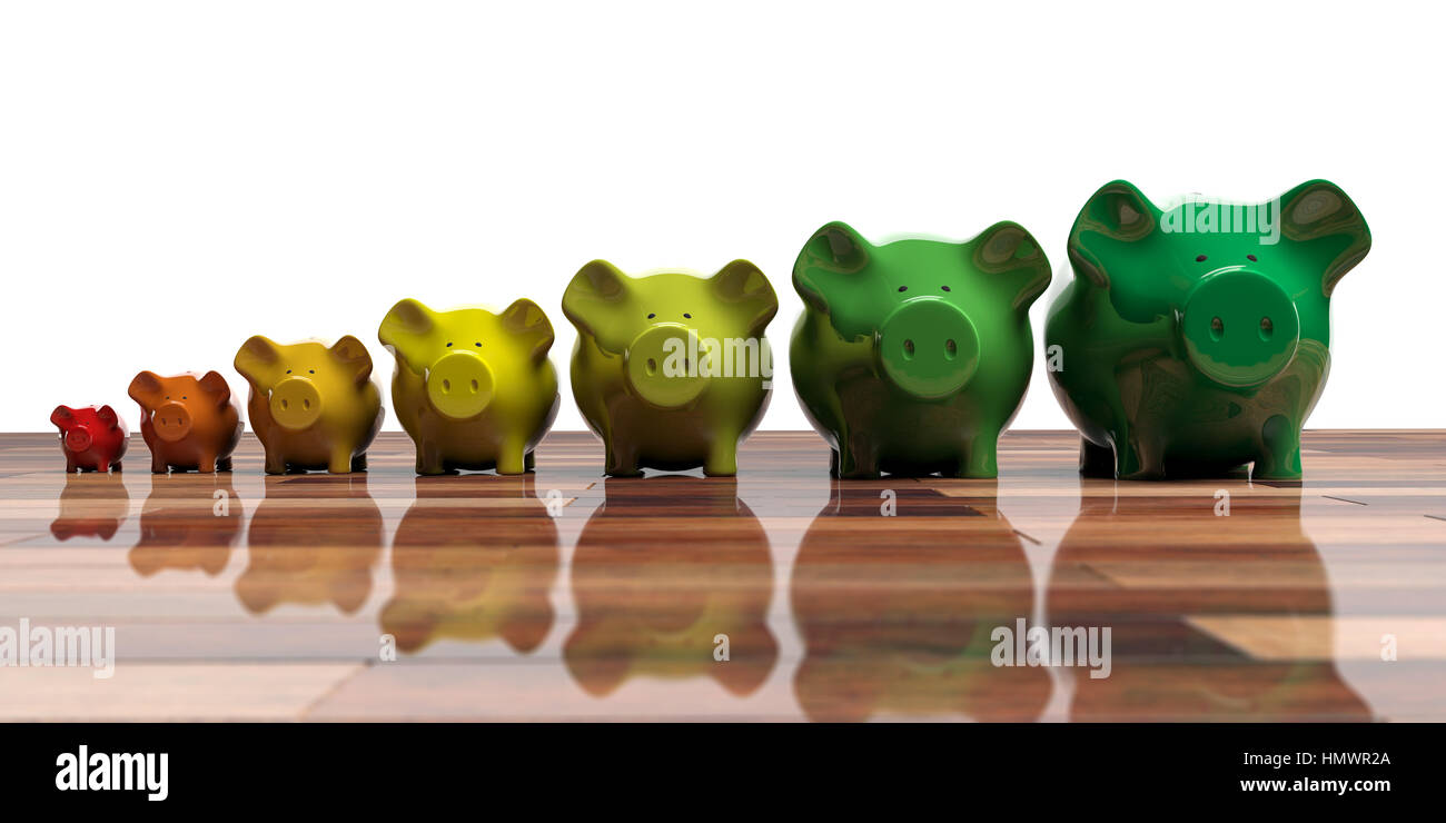 Piggy banks on wooden floor - energy efficiency concept. 3d illustration - Stock Image