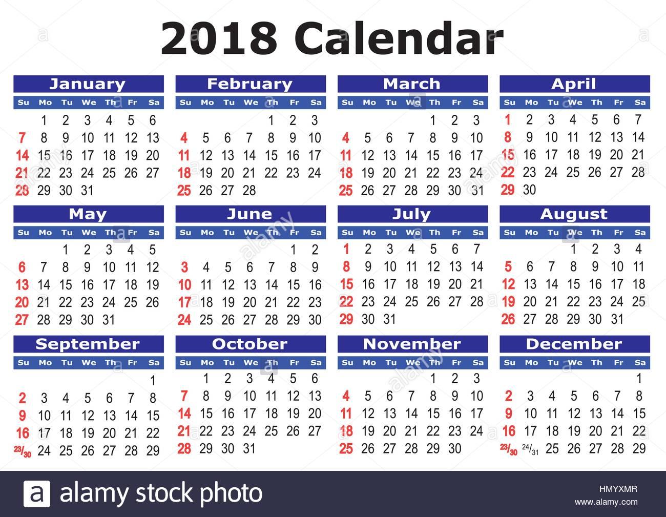 Calendar 2018 April Daily