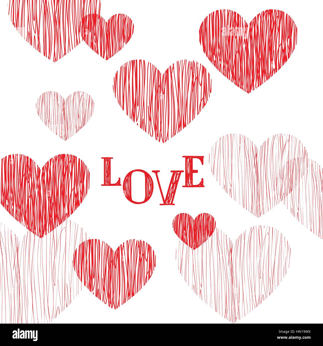 Love Pattern Happy Valentines Day Card Love Heart Pencil Sketch Background Valentines Day Greeting Card Design