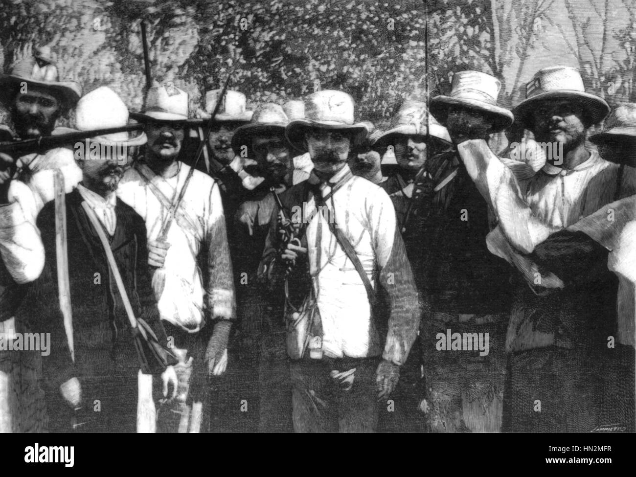 Fight for the Cuban independence. Rebels partisans of Maximo Gomez 1898 Cuba Stock Photo
