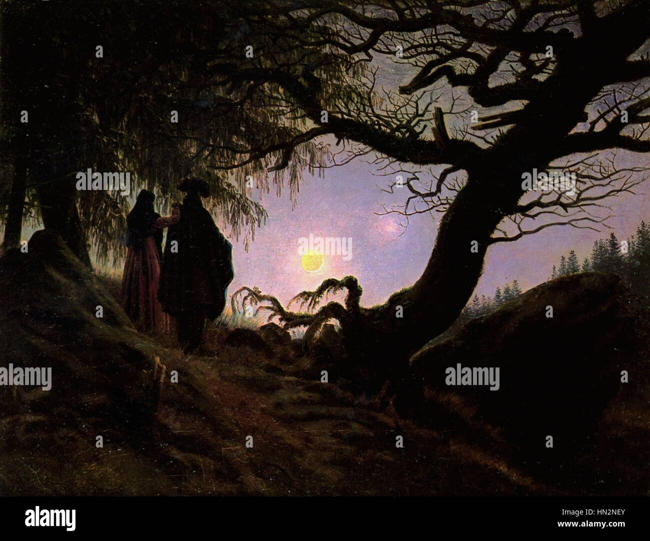 Caspar Friedrich German school Man and Woman contemplating the Moon Mann und Frau in Betrachtung des Mondes c.1830 Stock Photo