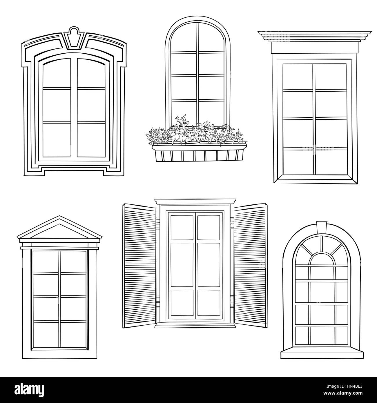 Window set different architectural style of windows doodle sketch window set different architectural style of windows doodle sketch stylish collection thecheapjerseys Gallery