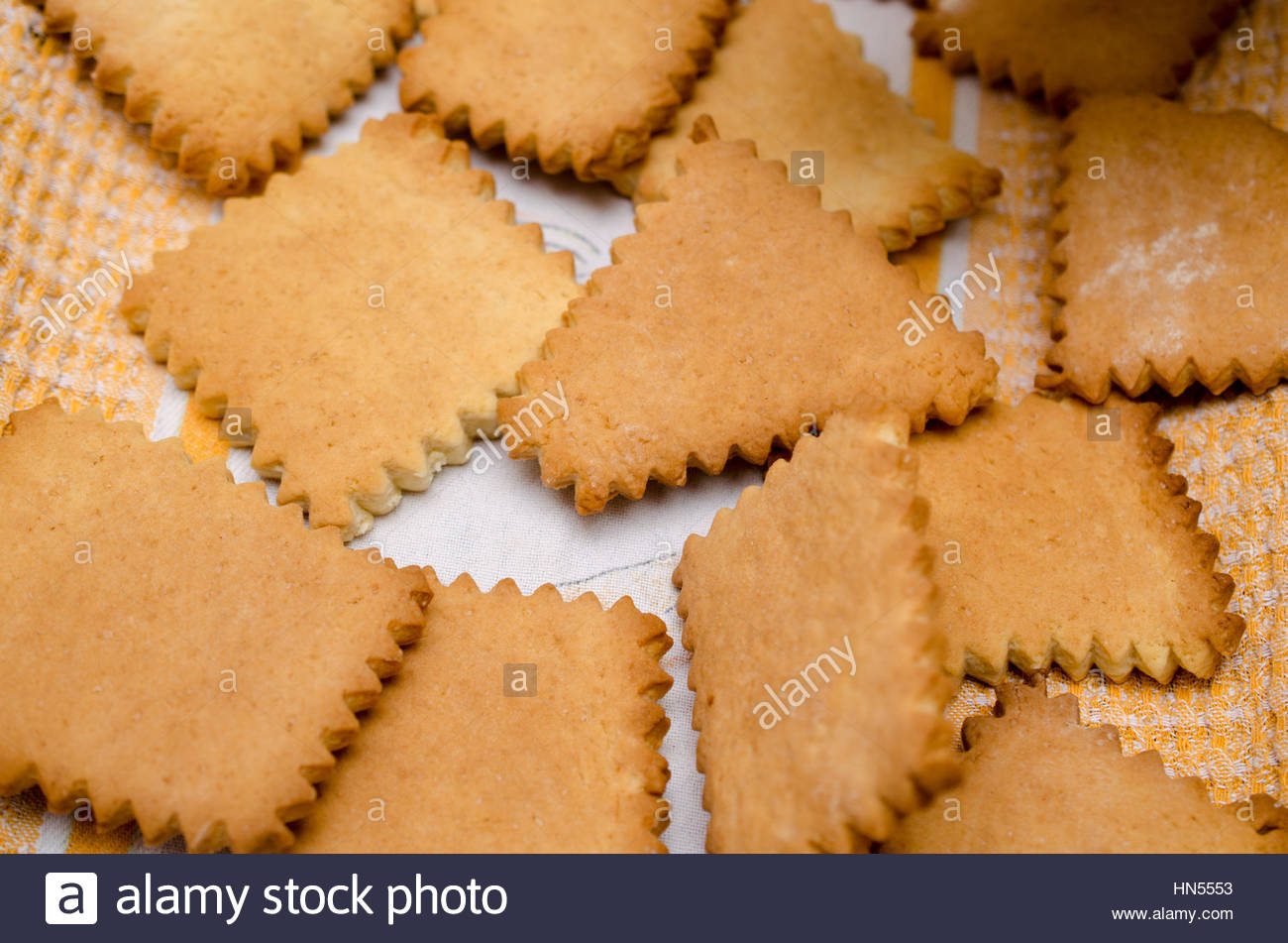 Cooking homemade cookies on rustic kitchen - Stock Image