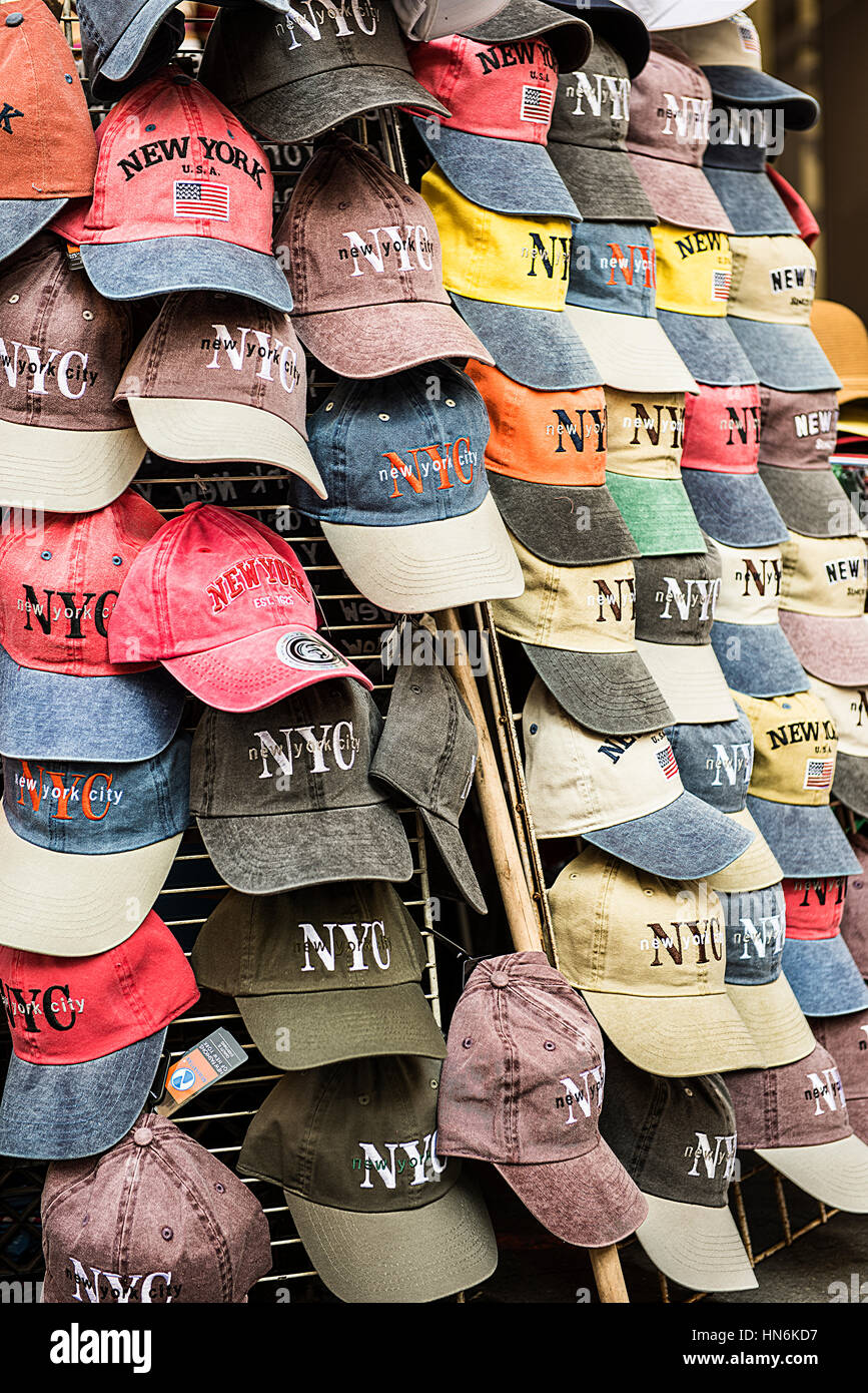 New York Hat Stand With Nyc Baseball Caps On Display Stock Photo