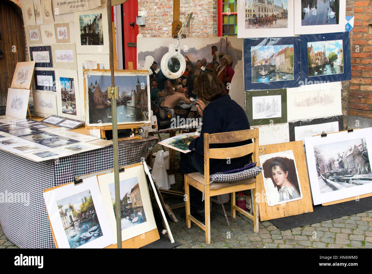 BRUGES, BELGIUM - JUNE 18: Fine art painter H. Socotti in Bruges, Belgium on June 18, 2013. - Stock Image