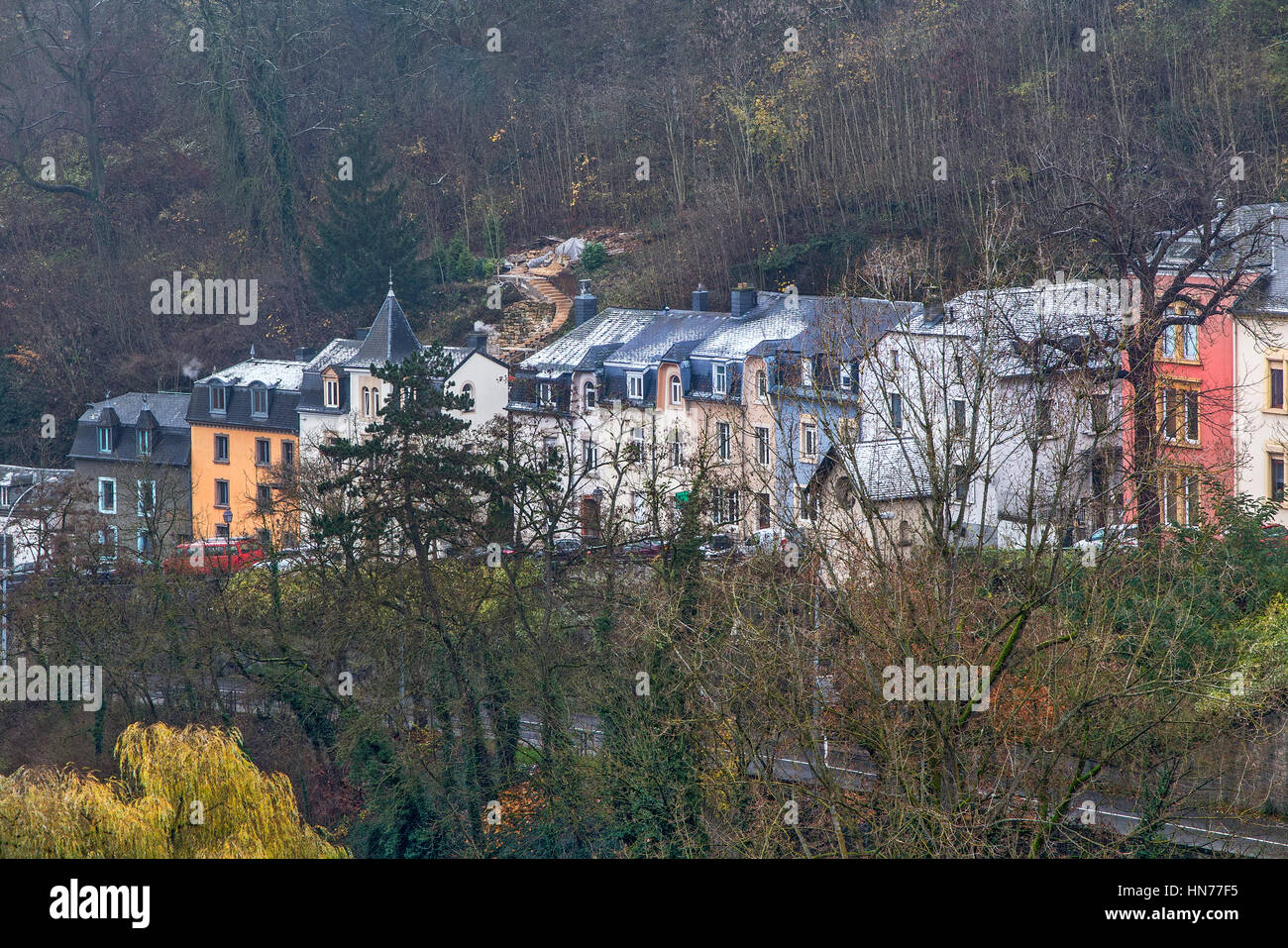 Historical houses of La Petrusse Luxembourg - Stock Image