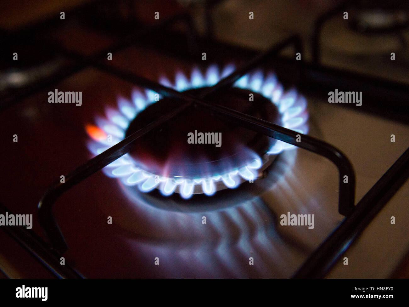 Gas hob cooker flame alight cost of energy UK Stock Photo