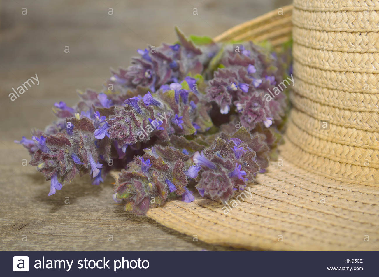 Spring flowers on a straw hat on a wooden background - Stock Image