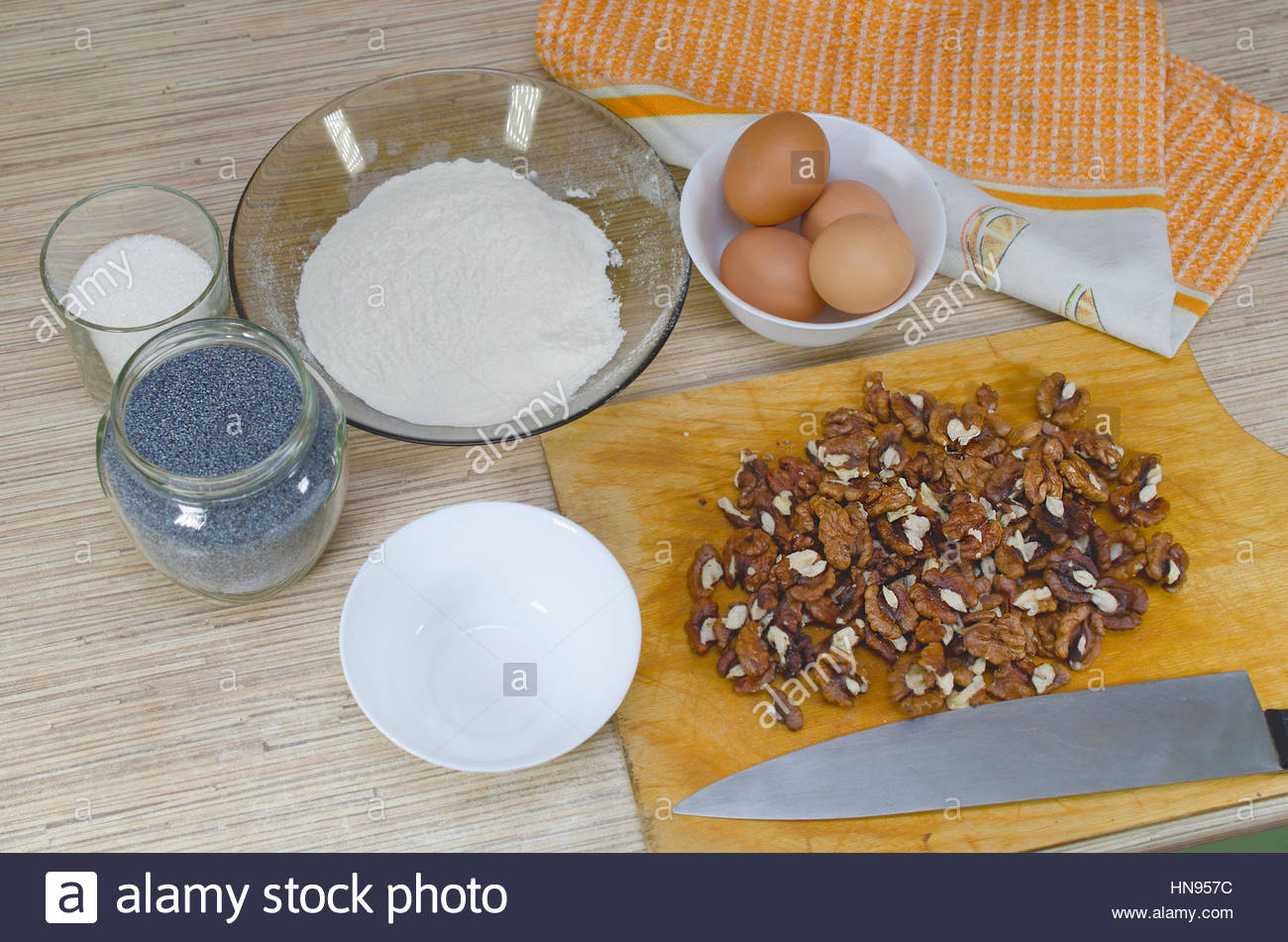 Ingredients for cooking homemade cake - Stock Image