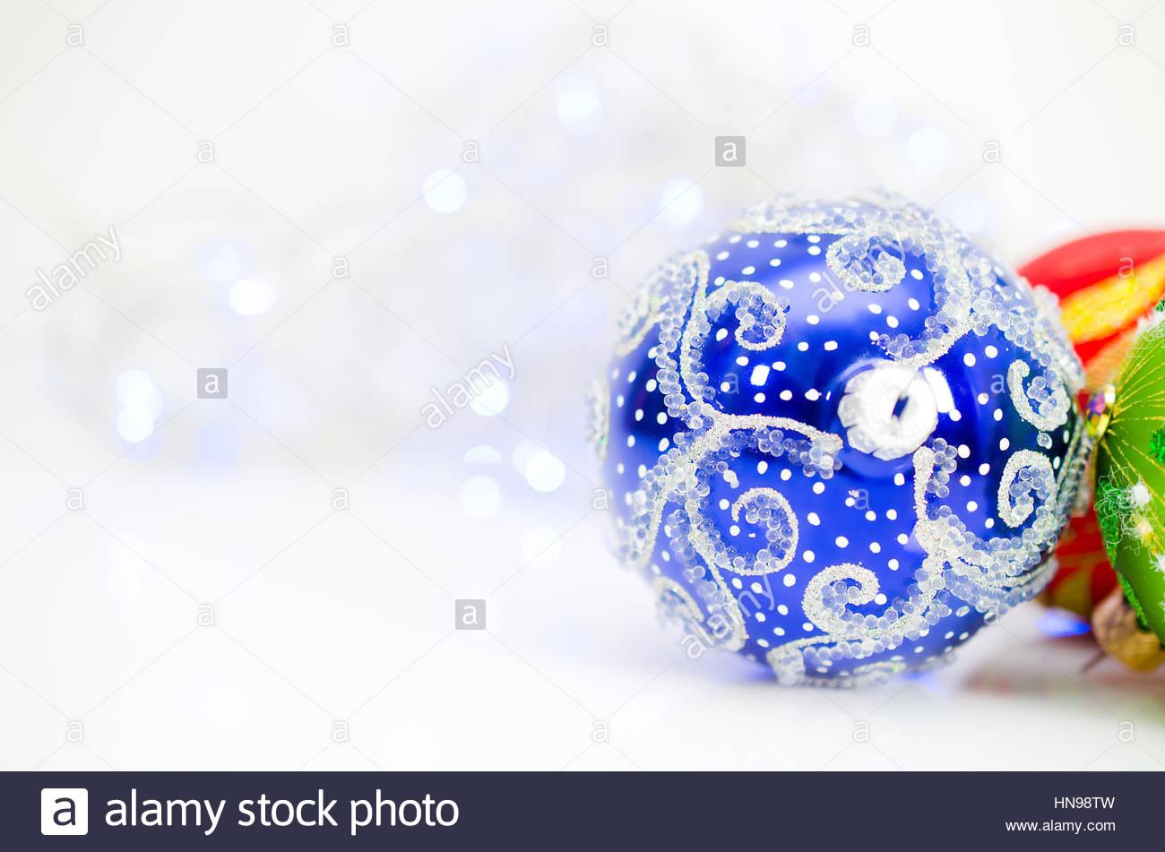 Christmas Balls On White Background - Stock Image