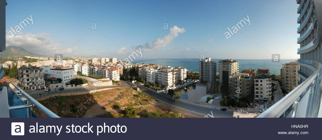 view from the hotel windows on a resort town and the sea - Stock Image