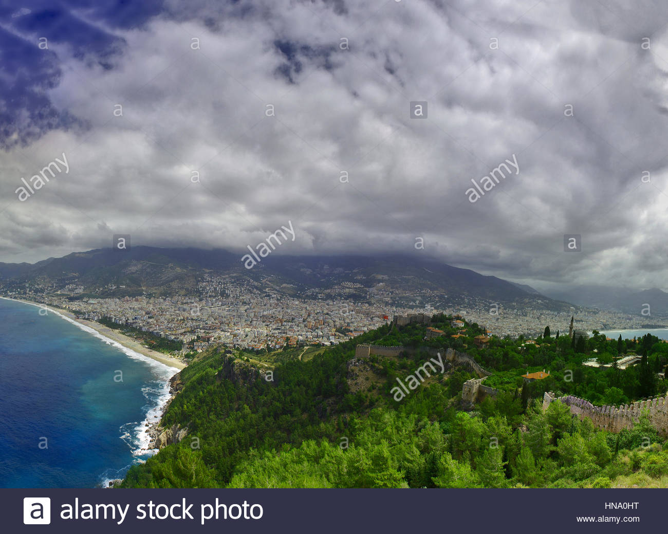 view of sea coast in the summer sunny day - Stock Image
