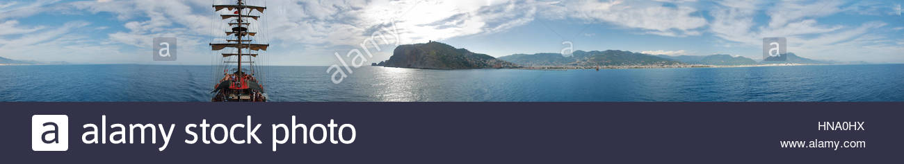 Boat trip along the peninsula in the Mediterranean Sea in the summer on a sunny day - Stock Image