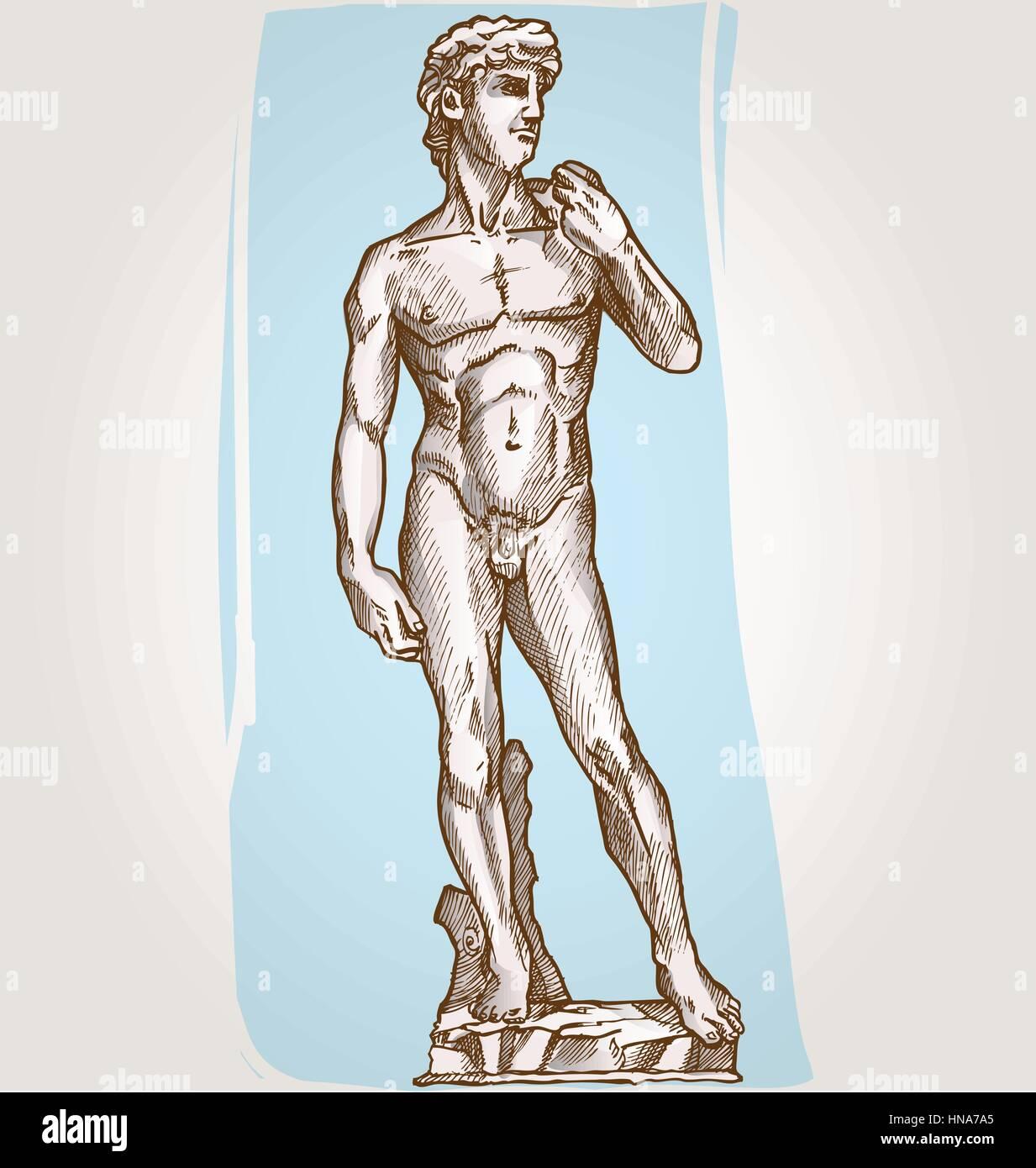 david statue of Michelangelo on blue background Stock Vector Art ...