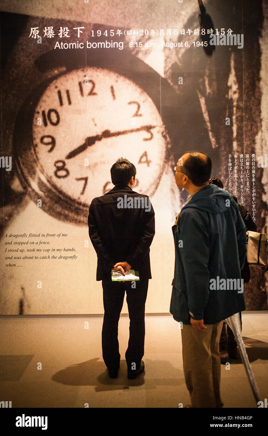photo of a clock that stopped at the time of the atomic bomb explosion, Hiroshima Peace Memorial Museum, Hiroshima, - Stock Image