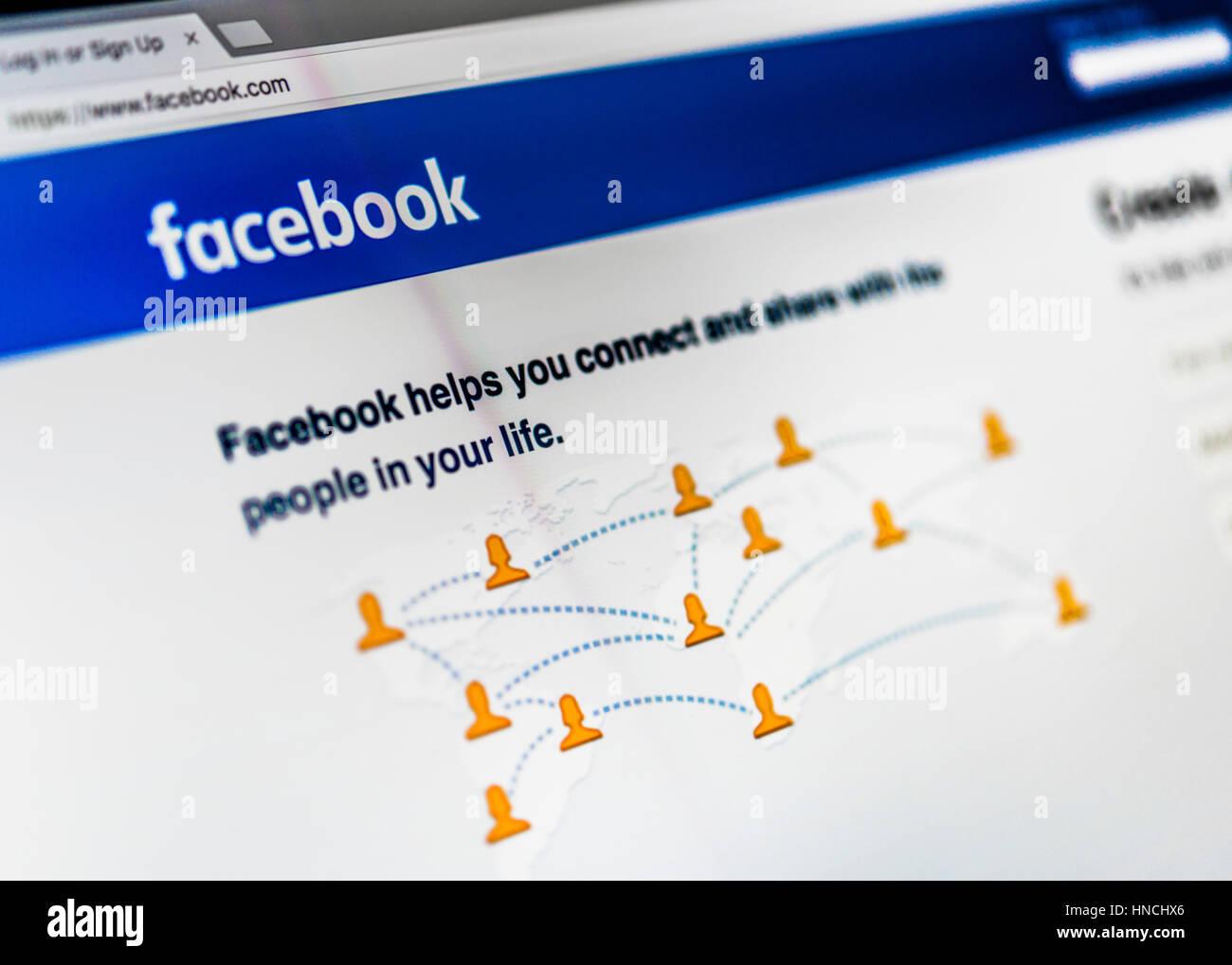 Facebook, Social Network, Home, Logo, Internet, Screenshot Stock Photo