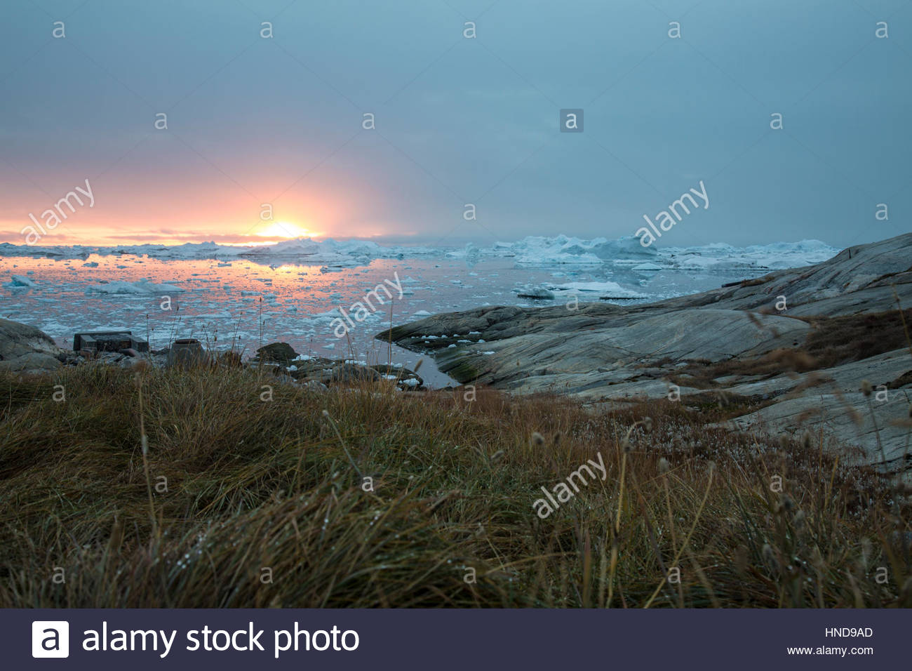 Greenland Sunset from the Icefjord Stock Photo