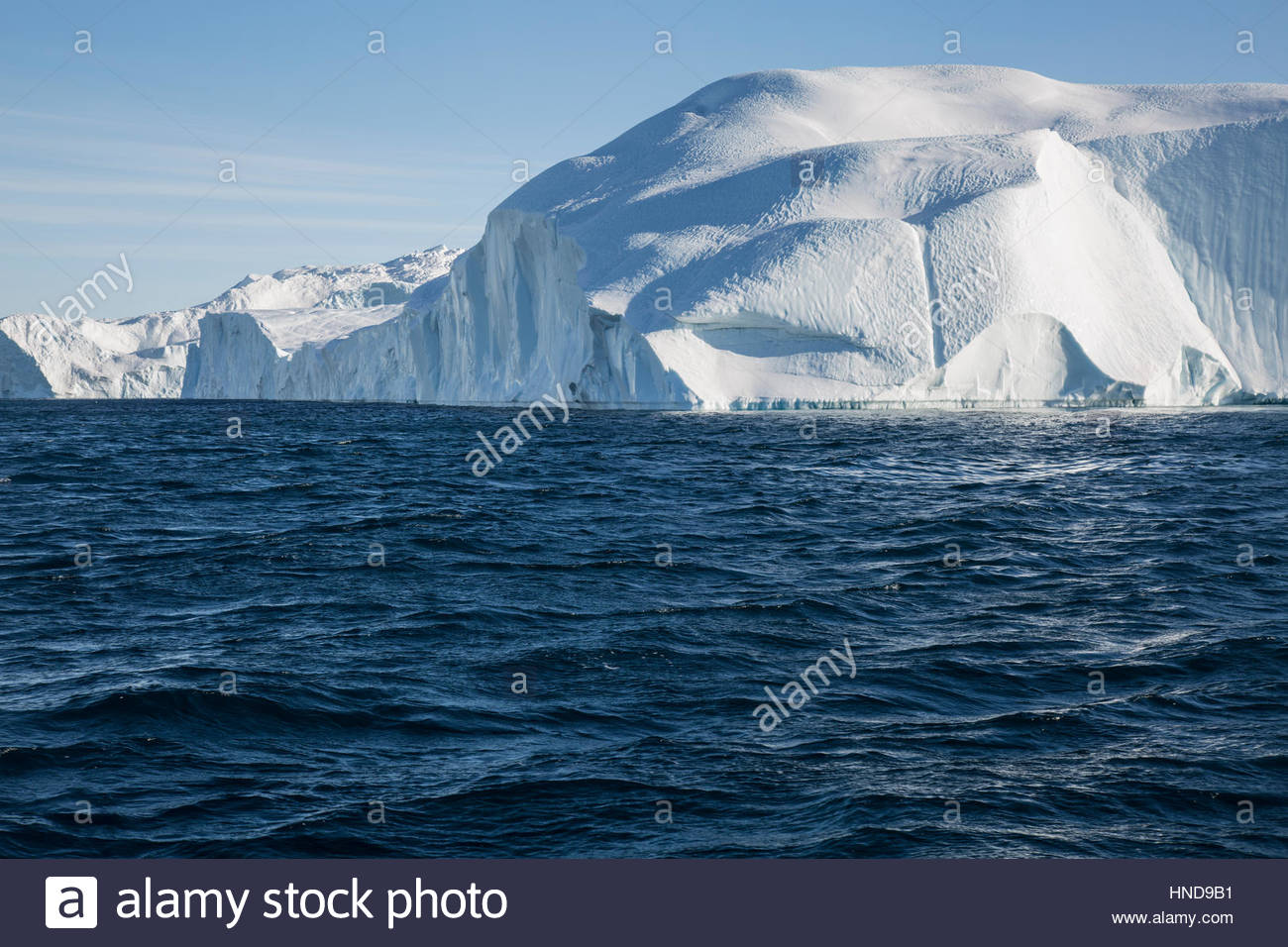 Iceberg in Greenland Sailing around Icefjord Stock Photo