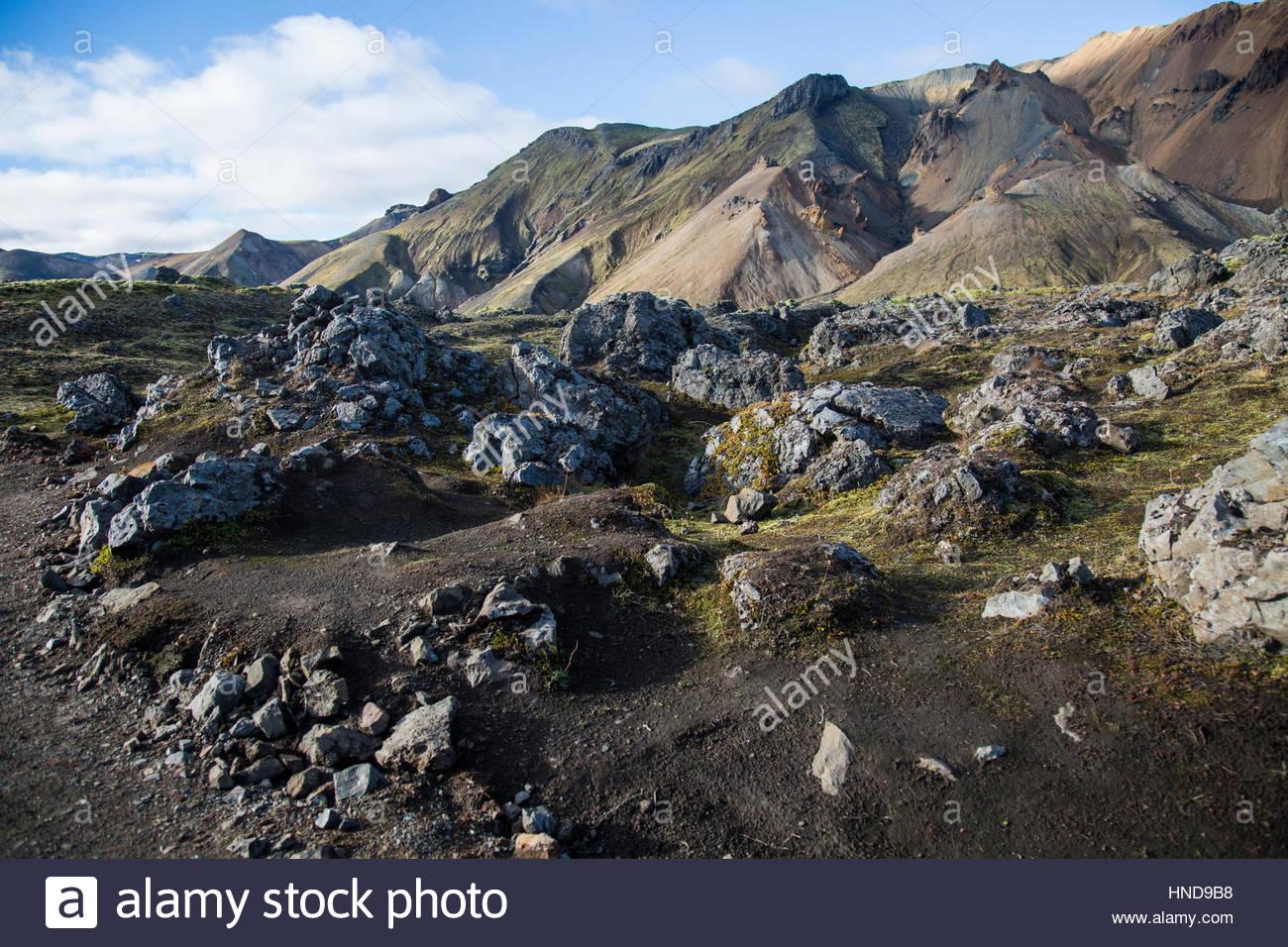 Volcanic Landscape Blue Sky Stock Photo