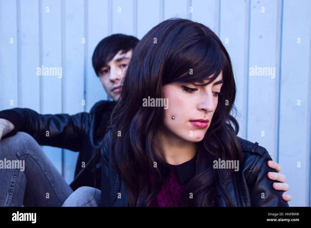 Young sad couple with troubles - Stock Image